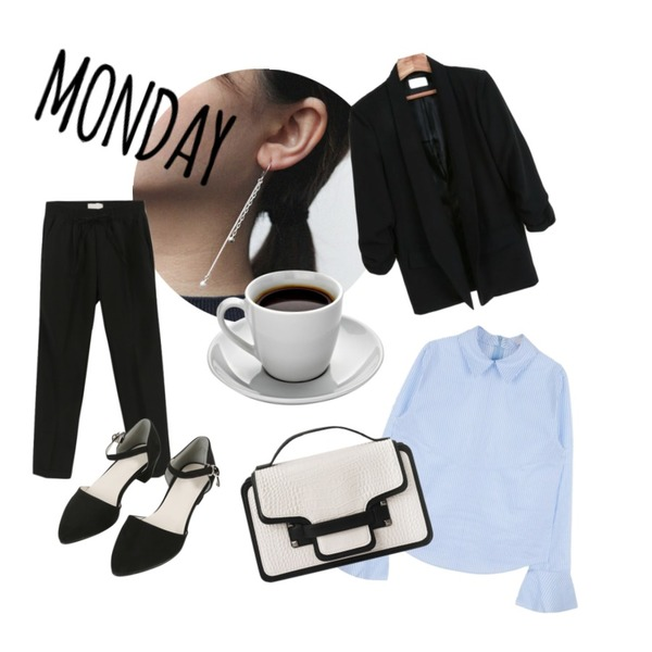 MIXXMIX ONLY MIX Frill cuffs shirt,daily monday Silver Unbalanced chain earring,MINIBBONG 하늘-sl등을 매치한 코디