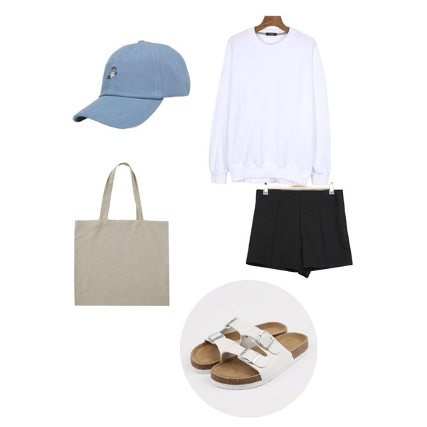 IM3 핀턱 simple shorts,From Beginning Basic linen eco bag_H  (size : one),daily monday Daily spring loose man to man등을 매치한 코디