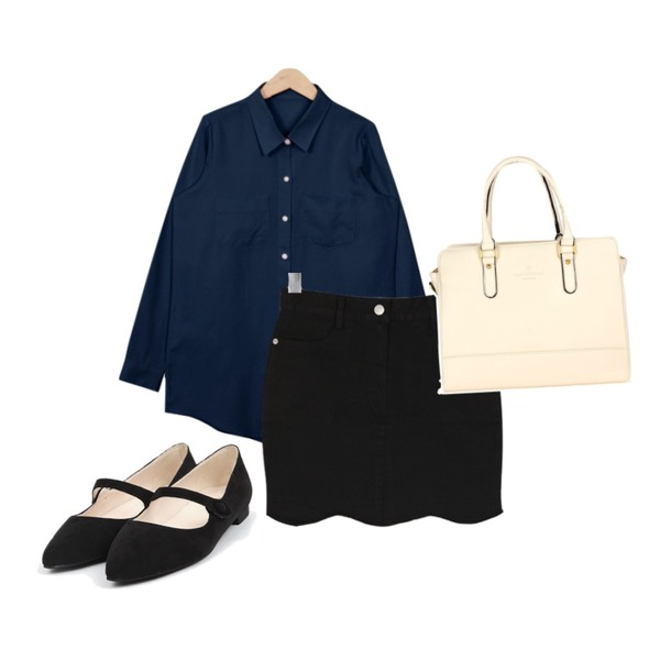 BULLANG GIRL 코튼물결SK,From Beginning Pastel cotton basic shirts_B (size : free),AIN mary jane pointed flat (2 colors)등을 매치한 코디