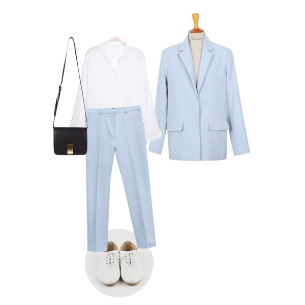 From Beginning Mannish suit set_A  (size : free),daily monday Basic everyday loafer,IM3 Drop 시스루 blouse등을 매치한 코디