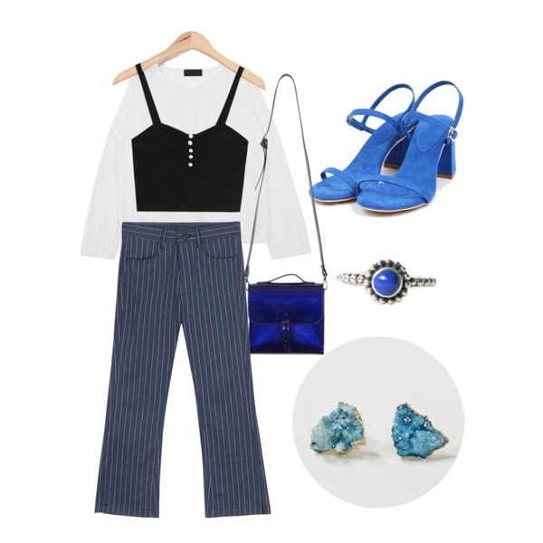 daily monday Druzy gemstone earring,From Beginning Pintuck lace see-through blouse_Y (size : free),AIN slim fit mini bustier (4 colors)등을 매치한 코디