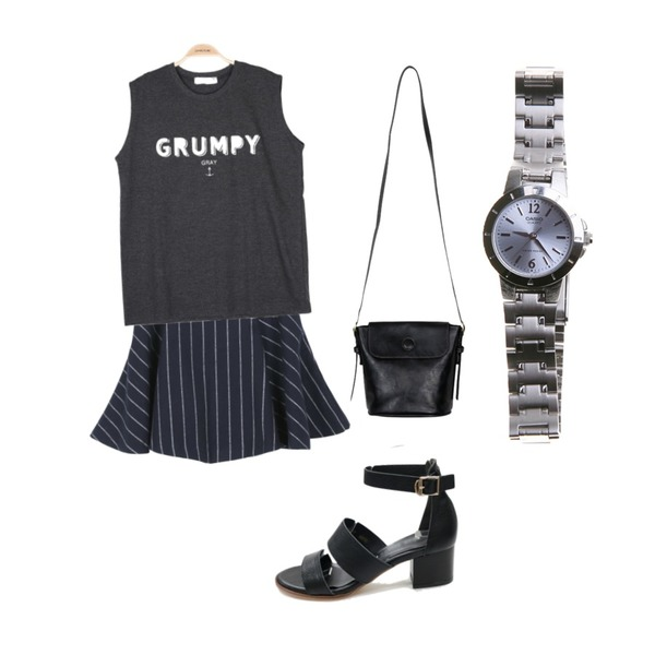 daily monday Flow stripe skirt,IM3 GRUMPY 나시,From Beginning Magnet loof bag_Y (size : one)등을 매치한 코디