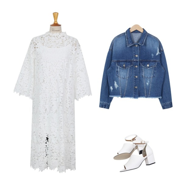 NEW NEED NOW 토오픈 스트랩 미들힐(3color),From Beginning Feminine lace punching ops_B (size : free),From Beginning Damage crop denim jacket_P (size : free)등을 매치한 코디