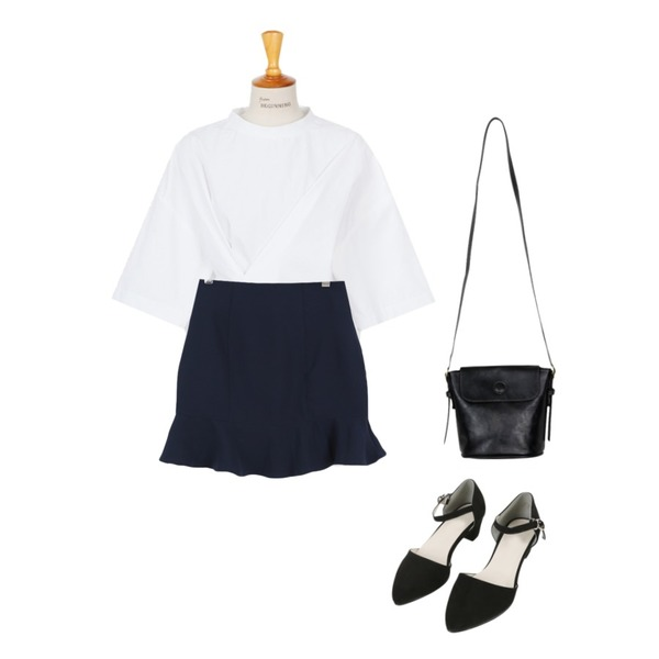 SOMEDAYS 쏘쏘 프릴sk(3color),From Beginning Pick cotton blouse_P (size : free),From Beginning Magnet loof bag_Y (size : one)등을 매치한 코디