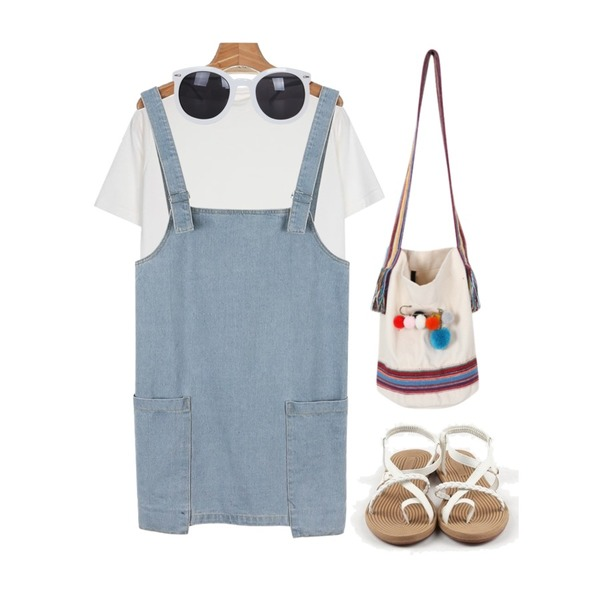 From Beginning Pom pom rope bag_A (size : one),daily monday Pocket point denim one-piece,IM3 바디웜 Daily Tee등을 매치한 코디