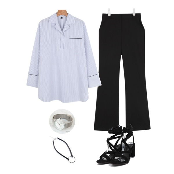 daily monday Daily line point shirts,AIN gladiator style heel (3 colors),AIN long boot-cut slacks (2 colors)5월30-31일 입고예정등을 매치한 코디