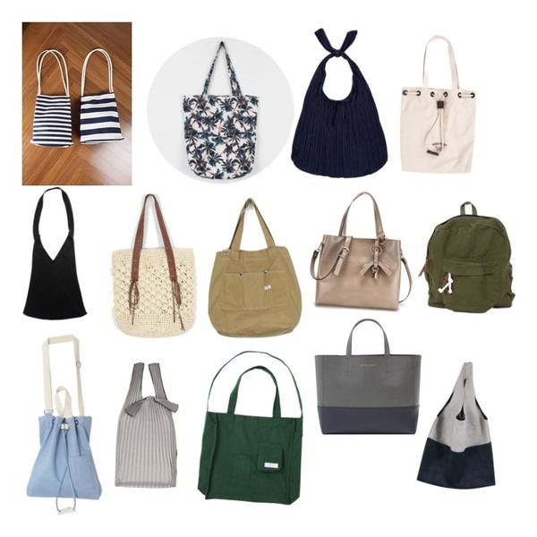 daily monday Palm tree pattern eco bag5/25 입고예정,From Beginning Angle knit bag_Y (size  : one),IM3 s/t 숄더 bag등을 매치한 코디