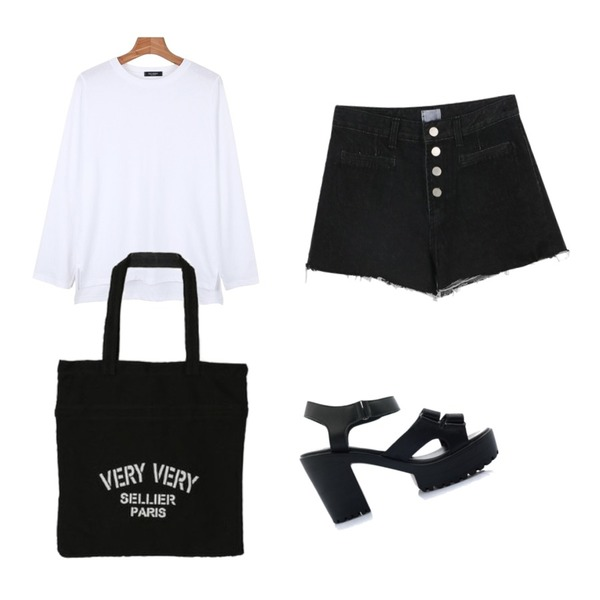 daily monday Daily slit point tee,daily monday Button mini denim pants,BULLANG GIRL 벨크로라인샌들등을 매치한 코디