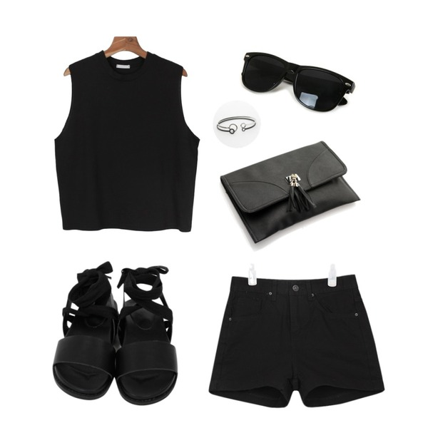 From Beginning Cotton string ribbon sandle_B (size : 230,235,240,245,250),daily monday Cut simple sleeveless,AIN roll up highwaist short pants (2 colors)등을 매치한 코디