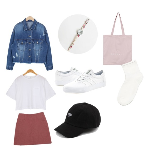 daily monday Flower band watch,daily monday Casual color ball cap,BANHALA 브래킷 에코백등을 매치한 코디