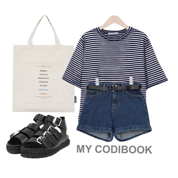 daily monday Daily weekly bag,AIN belt set 1/2 denim pants (3 colors),From Beginning Day stripe cotton T_Y (size : free)등을 매치한 코디