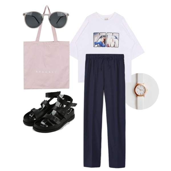 biznshoe MM boxy printing tee (2color),Reine 프라이스 린넨 팬츠,daily monday Daily clean watch등을 매치한 코디