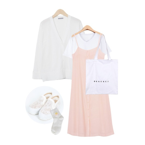 From Beginning Slit sleeve button cardigan_Y (size : free),From Beginning Wrinkle open button ops_H (size : free),BANHALA [남녀공용] 너랑나랑 V넥티등을 매치한 코디
