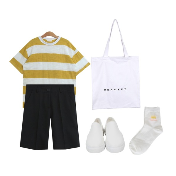 TODAY ME [short pants]톰톰 5부 팬츠,From Beginning Plain leather slip-on_K (size : 225,230,235,240,245,250),TODAY ME [tee]엘란 단가라티등을 매치한 코디