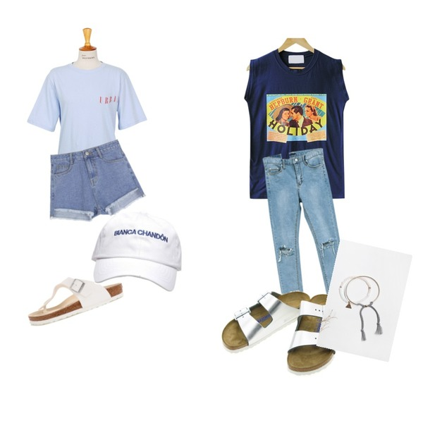 NEW NEED NOW 오픈 컷팅&헤짐 데님 팬츠,CCUMI SISTER Holiday tee,From Beginning Urban cotton T_Y (size : free)등을 매치한 코디