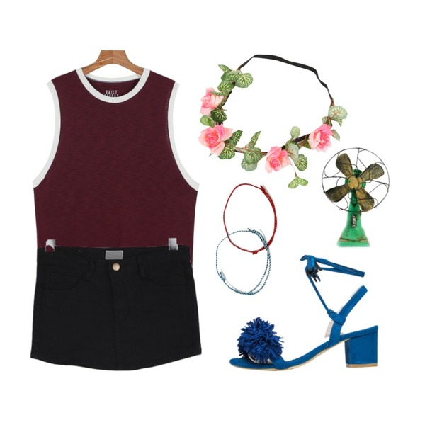 daily monday Daily layered sleeveless,NEW NEED NOW 프린지 수술 스웨이드 샌들(5color),BULLANG GIRL 앞SK뒤P등을 매치한 코디
