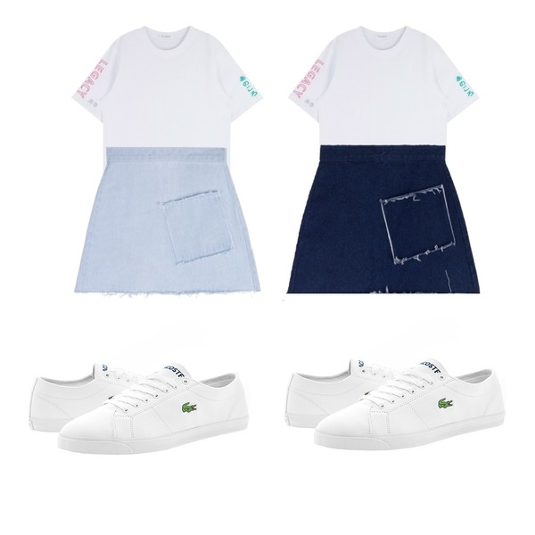 MIXXMIX HIDE AND SEEK 16 SS BLanguage Mix Top(White),MIXXMIX HIDE AND SEEK 16 SS BPocket Denim Skirt(Light blue)등을 매치한 코디