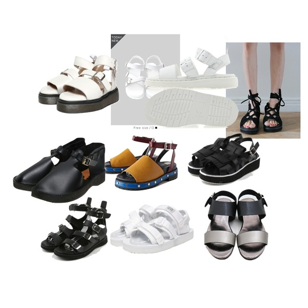 daily monday Strap point buckle sandal,SOMEDAYS 버클 샌들,TODAY ME [shoes]리나스 샌들 슈즈등을 매치한 코디