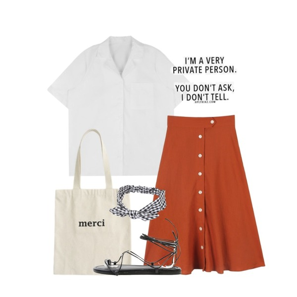 daily monday Button linen flare skirt,WANNABEUNNI Merci eco bag,MIXXMIX <mark>ONLY MIX </mark><br>Double collar shirts등을 매치한 코디