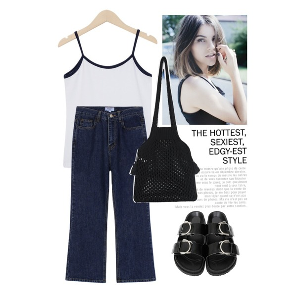 Untitled,-,From Beginning Piping pastel sleeveless T_Y (size : free)등을 매치한 코디