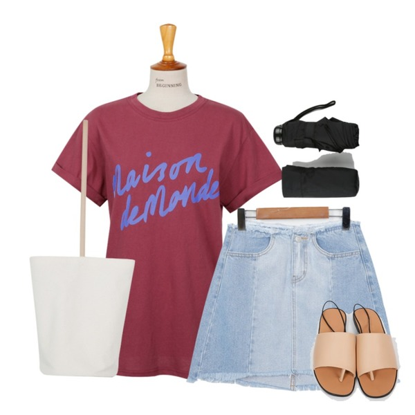 From Beginning Paint lettering T_P (size : free),From Beginning Come sling back sandal_K (size : 230,235,240,245,250),From Beginning Patch denim skirt_B (size : S,M,L)등을 매치한 코디