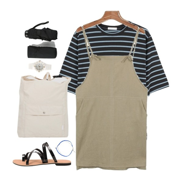 daily monday Color match stripe tee6/20 입고예정,daily monday Linen unbal one-piece,From Beginning Canvas two-way bag_B (size : one)등을 매치한 코디