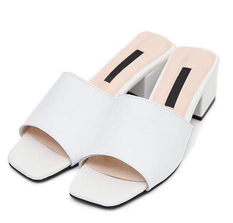square middle heel slippers (2 colors)