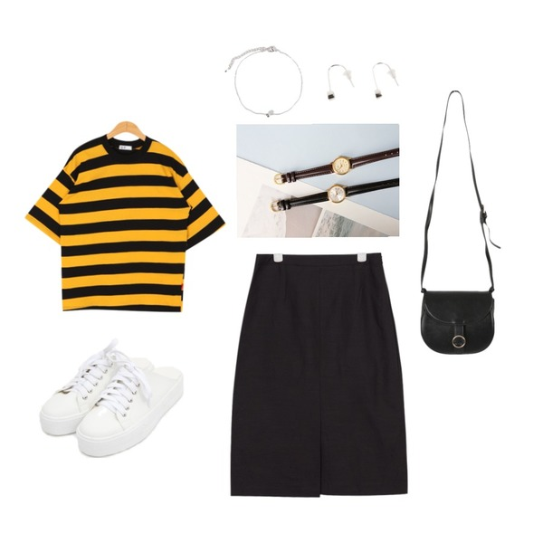 BULLANG GIRL 꿀벌단가라반팔T(7~8일 입고예정),AIN two-way point color skirt (3 colors),AIN casual sneakers slippers (2 colors)등을 매치한 코디