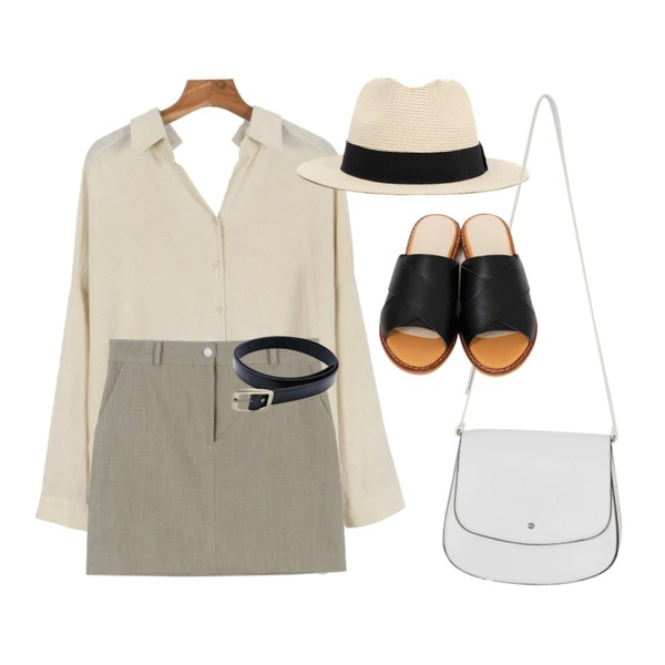 daily monday Back slit loose shirts,daily monday Back banding Linen skirt,myblin 브론지 스퀘어 벨트등을 매치한 코디