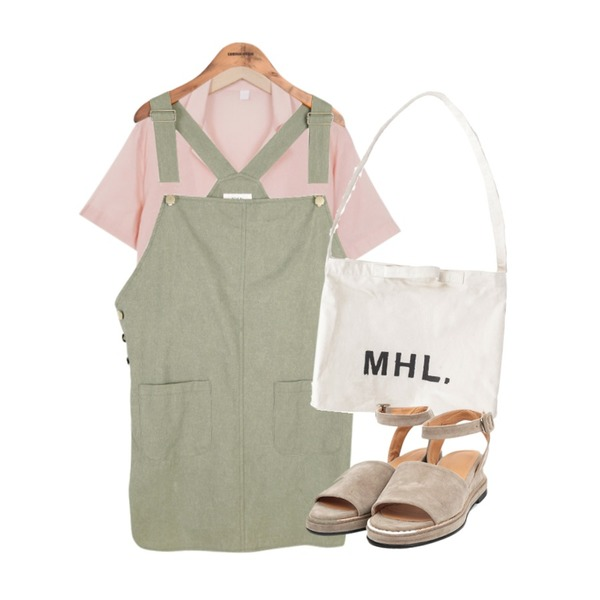 common unique [OPS] LINEN OVERALL OPS,BANHALA 마가렛 에코백,From Beginning Color half pajama shirts_B (size : free)등을 매치한 코디