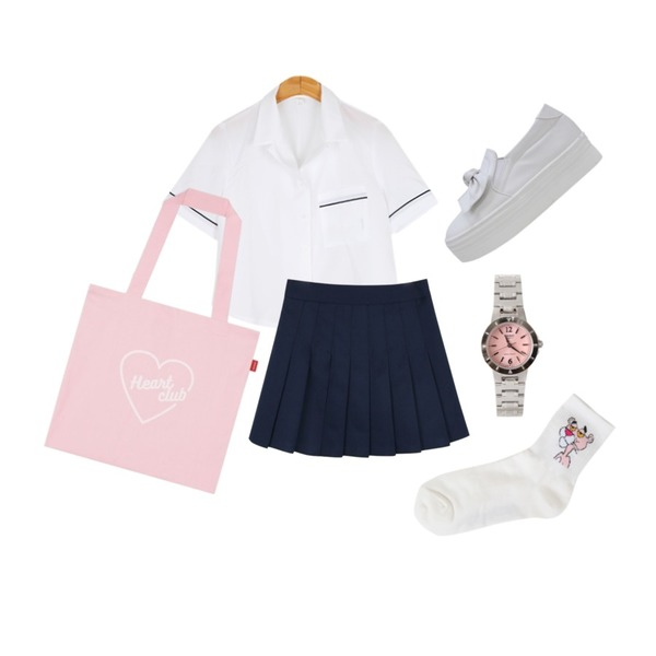 MIXXMIX Heart club 16SC Heart eco bag(Pink),BULLANG GIRL 파이핑카라BL,daily monday Deep color tennis skirt등을 매치한 코디
