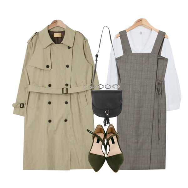 From Beginning Pleats ballon collar blouse_K (size : free),AIN classic trench coat (2 colors),AIN vintage check wrap ops등을 매치한 코디