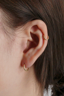 Silver essential gold ring earring(silver 925)