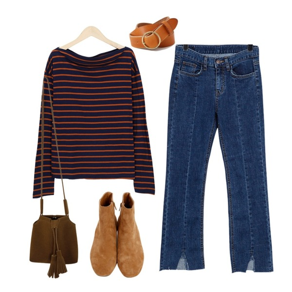 From Beginning Autumn stripe off shoulder T_Y (size : free),From Beginning Hem slit boots cut pants_Y (size : S,M,L),From Beginning Autumn suede tassel bag_B (size : one)등을 매치한 코디
