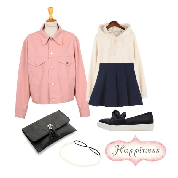 From Beginning Made_outer-052_simple cotton jacket_B (size : free),BULLANG GIRL 프로듀스 클러치,LOVELY SHOES 라디온 슬립온 (2.5cm)등을 매치한 코디