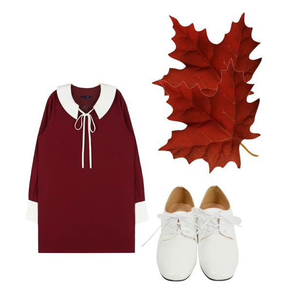 maple 1,From Beginning Square toe enamel loafer_Y (size : 230,235,240,245,250),MIXXMIX Ribbon Collar Dress (Wine)등을 매치한 코디