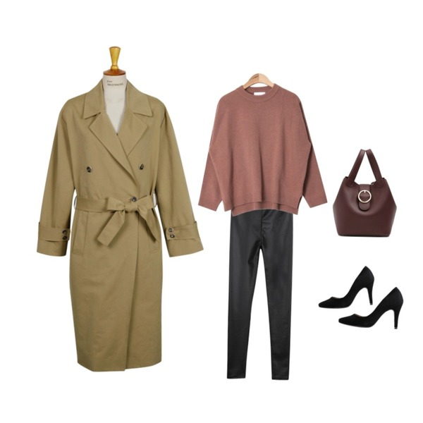 From Beginning Mood long trench coat_M (size : free),AIN cozy round neck knit (4 colors),CHLO.D.MANON 세상편한 레더 레깅스등을 매치한 코디
