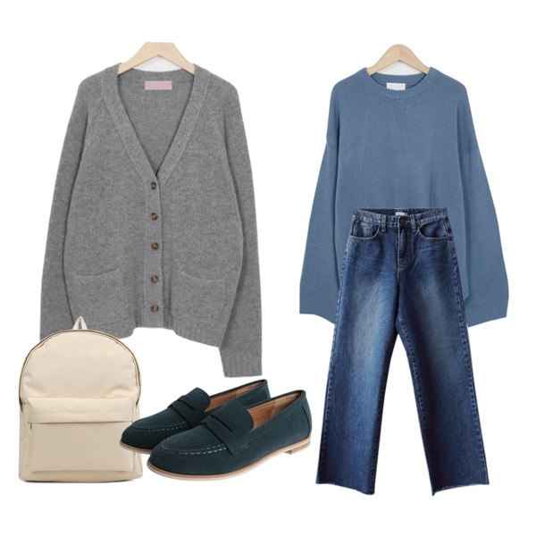 biznshoe Simple color backpack (3color),From Beginning Warm Y basic cardigan_B (size : free),From Beginning Unbal slit round knit_H (size : free)등을 매치한 코디