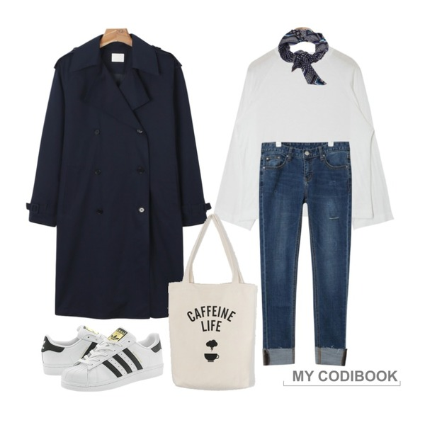 daily monday Pintuck trench coat,AIN raglan wide sleeve T (5 colors),AIN vintage washing roll up denim pants등을 매치한 코디