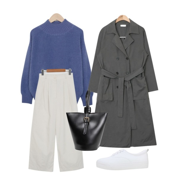 AIN maxi long trench coat (2 colors)  ,From Beginning Easy cotton banding pants_H (size : free),From Beginning Minkangora half neck knit_M (size : free)등을 매치한 코디