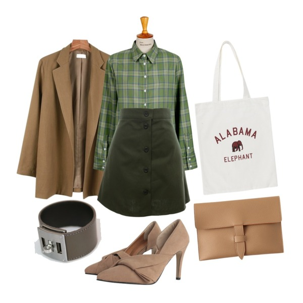 Dear Lady 두 썸씽(A라인스커트),daily monday Modern buckle jacket,From Beginning Made_top-129_check cuffs shirts (size : free)등을 매치한 코디