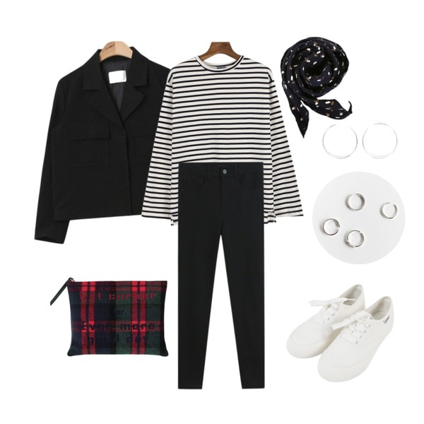 AIN chic mood short jacket (3 colors),daily monday Stripe solid tee10/12 입고예정,TODAY ME 제제 팬츠등을 매치한 코디