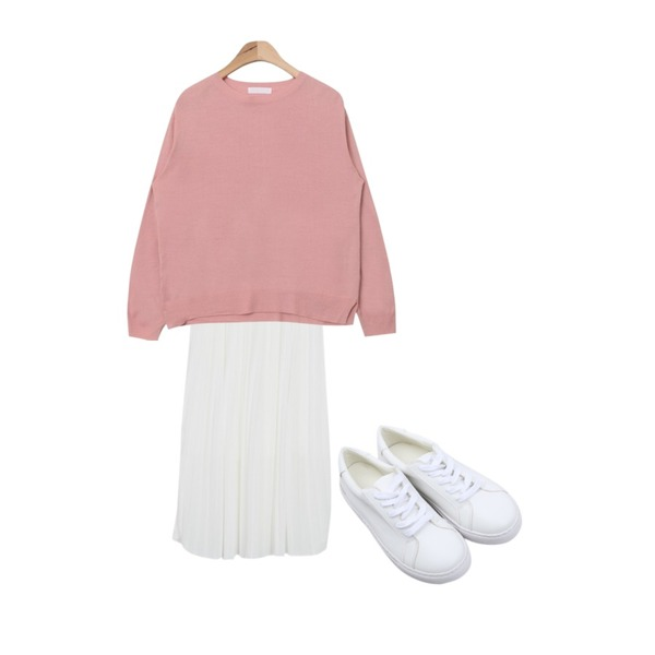 From Beginning Warm pleats banding skirt_Y (size : free),myblin 유니컬러 레더 스니커즈,AIN basic design round neck knit (6 colors)등을 매치한 코디