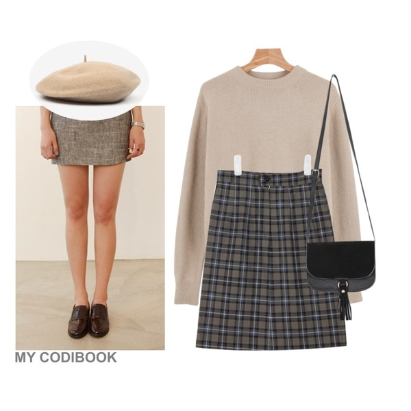 AIN H-line check midi skirts (2 colors),daily monday Deep color angora knit,daily monday Enamel penny loafer(4colors)등을 매치한 코디