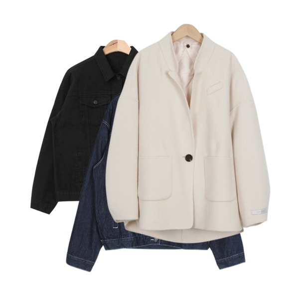 From Beginning Down handmade wool jacket_H (size : free),IM3 필수템 청자켓,AIN basic fit cotton jacket (4 colors)등을 매치한 코디