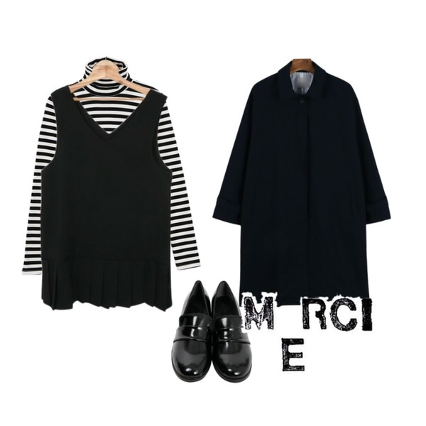 Zemma World Parisien.빠리-플리츠 (ops),daily monday Slit single trench coat,From Beginning Pipi stripe turtle T_Y (size : free)등을 매치한 코디