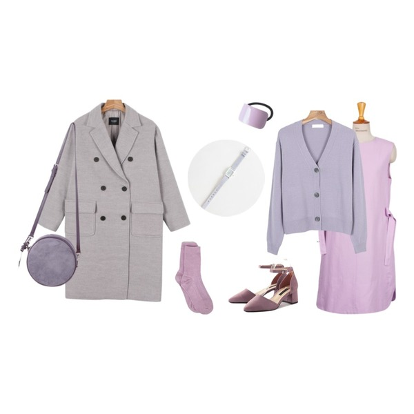 daily monday Daily envelope pocket coat,daily monday Spring color cardigan,From Beginning Made_ops-050_pastel ribbon ops (size : free)등을 매치한 코디