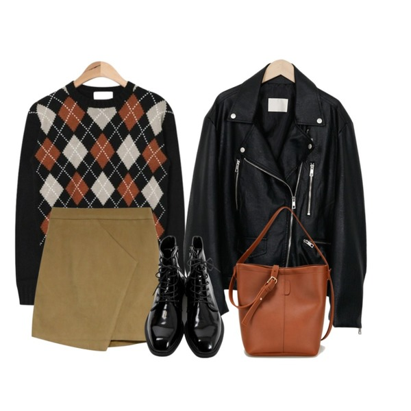 SOMEDAYS 뮤즈sk(4color),AIN argyle pattern knit (2 colors),From Beginning Air skin leather jacket_Y (size : free)등을 매치한 코디