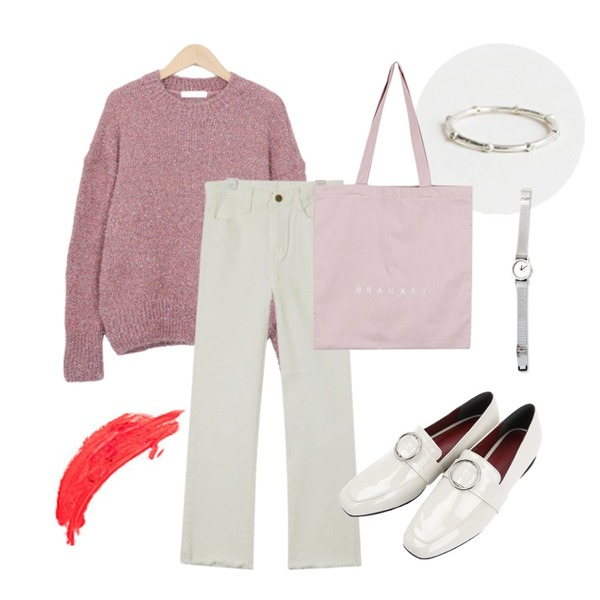 daily monday Silver point crystal ring(silver 925),AIN cut-off basic cotton pants (4 colors),From Beginning Even pearl round knit_K (size : free)등을 매치한 코디