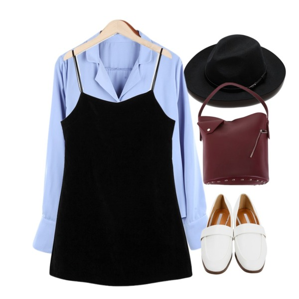 Reine Rooven Belted Fedora,BANHALA 소개팅 블라우스,From Beginning Soft sweat mini ops_K  (size : free)등을 매치한 코디